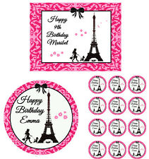 PARIS DAMASK EIFFEL TOWER Edible Cake Topper Cupcake Decoration Birthday Party