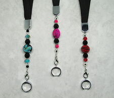 Black Lanyard w/Assorted Glass Beads for eGo eCigarettes
