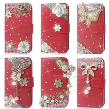 Red Bling Diamond Flip Wallet Leather Case For iphone Samsung Sony LG HTC