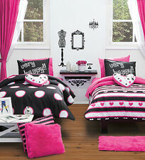 Twin and Full Size Girls and Teens Very Happy Comforter Set with Curtains