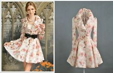 Retro Vintage Style Floral Flower Ruffled Collar Trench Coat Slim Long Jacket