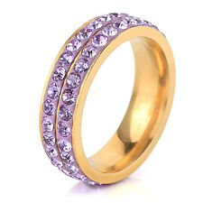 Diamond Shine Purple & Gold Full of Rhinestones Ring all sizes M, O, Q FR126
