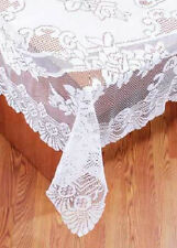 FLORAL LACE TABLECLOTH 53SQ, 53X73, 63X90, 63X108, 63X126, 70RD: WHITE, IVORY