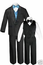 Boys Satin Shawl Lapel Black Suit+EXTRA Turquoise Vest & Bow Tie Tuxedo Small-18