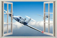 Huge 3D Window Plane Airplane View Decal Room decor Wall Sticker Removable Decal
