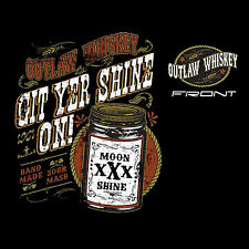 Outlaw Moonshine Whiskey White Lightning Mens Black T Shirt Small 6XL Big Tall