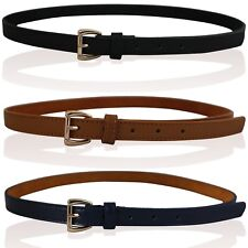 "NEW LADIES LEATHER SKINNY BELTS WOMENS LEATHER BELTS GOLD BUCKLE 28""- 44"" LB06"
