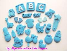 60x Edible Baby Boy Christening Baby Shower Cup Cake Decorations Sugar Toppers