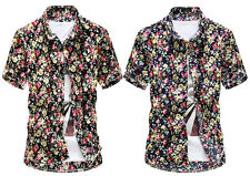 Handsome Men's Short Sleeve Fashion Flower Printing Pattern Casual Shirt
