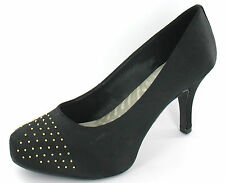 LADIES CLARKS HIGH HEEL SMART COURT SHOES DRUM TIME BLACK TEXTILE STUDDED FRONT