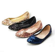 US5-9 Sequin Comfort Ballerina Pointy Toe Womens Boat Shoes  [JG]