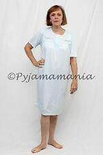 Pyjamas Ladies Sleepwear Polycotton Short Sleeve Nightie Blue (sz 12-22) Sz 8 10