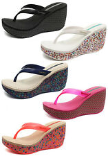Ipanema Brasil Lipstick Thong Womens Wedge Flip Flops ALL SIZES AND COLOURS