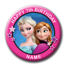 PERSONALISED FROZEN BIRTHDAY BADGES / FRIDGE MAGNETS / MIRRORS - 58MM or 77MM
