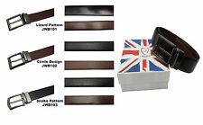 Mens Reversible Genuine Leather Waist Belt Real Quality Trouser Formal Gift Box