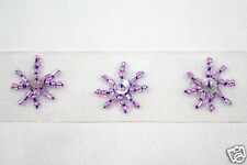 "1"" Beaded Organza White Ribbon Trim with Purple Glass Bugle Beads and Sequin"