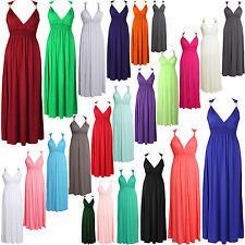 NEW LADIES COIL SPRING FRONT GRECIAN SLEEVELESS JERSEY MAXI DRESS SIZE 8-14