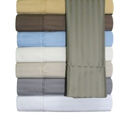 California-King Cotton Blend Sheets, 650 TC Stripe Unattached Waterbed Sheet Set