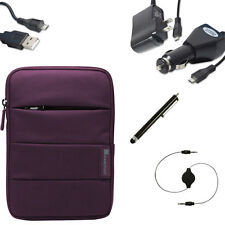Nylon Pouch Sleeve Cover Car Kit Micro USB Accessories for 7 7.1 7.7 8 Tablets