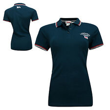 Lonsdale LADIES WOMENS Polo Shirt ASPEN Blue Embroided Union Jack Pique XS-XL