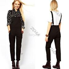 Vintage Women Scalable Shoulder Strap Overalls Jumpsuit Playsuits Black Pants