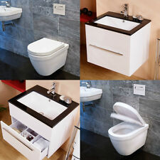 Vada 600mm Wall Mounted Vanity Basin Cabinet Unit and Galactic Hung Toilet Pan