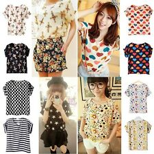 Women Ladies Batwing Chiffon Blouse T-Shirt Casual Printed Tops Dress Shirts A01