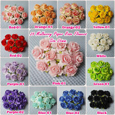 25 mini Mulberry Paper Rose Flowers of Wedding Crafts : 25mm.