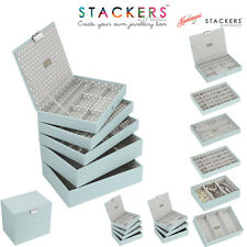 Stackers Classic Size In Duck Egg Blue With Grey Polka Dot Jewellery Boxes