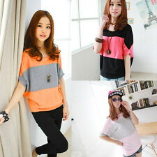 New Ladies Fashion Batwing Sleeve Striped Loose T shirt Overside Tops M