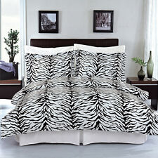 Zebra 8-PC Printed Reversible Bed in a Bag,100% Cotton Silky-Soft Black/WhiteSet