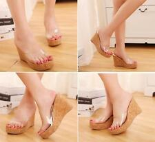Retro Grain Slope Wedge Transparent Plastic Upper High-heeled Slippers Sandals