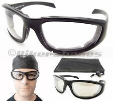 Large Frame Motorcycle Glasses Goggles Clear Lens or Anti Glare Clear tinted