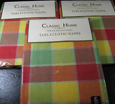 "CLASSIC HOME DESIGNER TABLECLOTHS /NAPPE -100% COTTON - 60"" RD. MULTI COLOR- NEW"