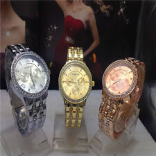Women's Fashion Exquisite Luxury Gold Quartz Rhinestone Crystal Dial Wrist Watch