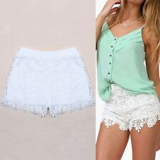 New Women Lady Elastic Shorts High Waist Lace Short Pants White Black Trousers
