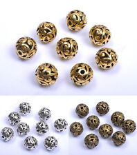 10Pcs Tibetan Silver Round Heart Metal Carved Hollow Spacer Beads 12MM