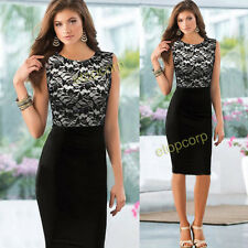 Women Sleeveless Lace stitched Tunic Slim Bodycon work office Party Pencil dress