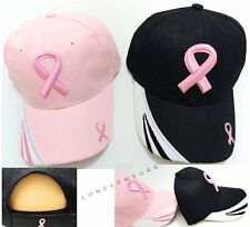 Breast Cancer Awareness Pink Ribbon Logo Embroidered Adjustable Ball Cap Hats