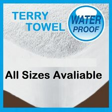 TERRY TOWEL MATTRESS PROTECTOR SINGLE DOUBLE KING SUPER KING COT BED SIZE