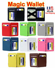 NEW MAGIC WALLET MONEY CLIP LEATHER CREDIT CARD HOLDER w ID WINDOW - MANY COLORS