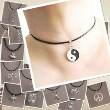 Handmade Tibet Silver Charm Bead Pendant Necklace Black Leather Chain Fashion