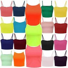 New Womens Strappy Cami Crop Vest Tops Cycling Gym Sporty Vests 4-10