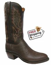 Lucchese Men's Sienna Smooth Ostrich/Antique Tobacco R-Toe Boots N9578