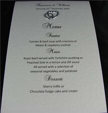 10 Personalised A6 Wedding Table Menu Cards White Ivory Gold Silver Hearts