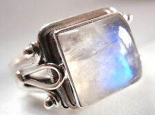 Elegant Moonstone Square Ring 925 Sterling Silver Solid and Heavy Sz 6.5 to Sz 9
