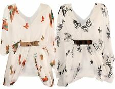 New Womens Plus Size Kimono Chiffon Butterfly Print Lined Belted Tops 16-22