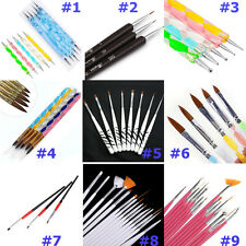 UV GEL & Acrylic Nail Art Tips Design Dotting Painting Pen Polish Brush Set US