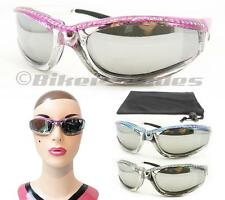 Silver Chrome and Pink Motorcycle Sunglasses Rhinestones for Women Anti Glare