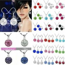 New FREE CZ Crystal SILVER Sets Silver Necklace Earrings Disco Bead Jewelry Sets